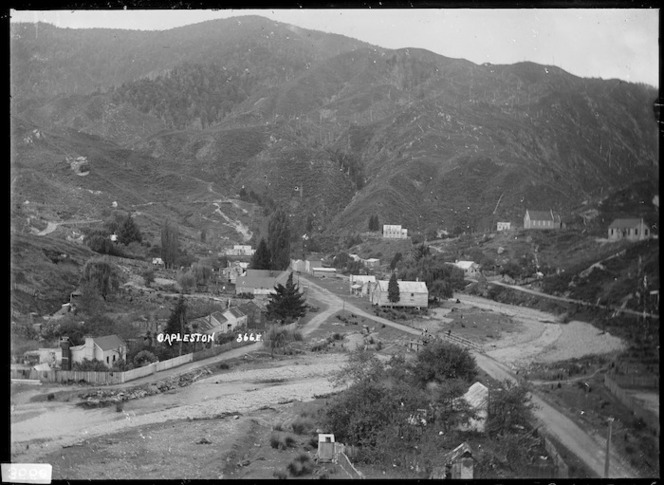 View of Capleston, a gold-mining settlement on Boatmans Creek, a minor tributary of the Inangahua River