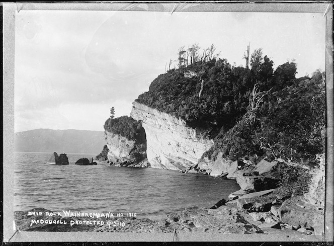 Ship Rock, Lake Waikaremoana - Photograph taken by John William McDougall