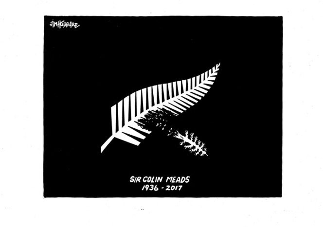 The silver fern is cast in the shadow of a fallen pine tree after Sir Colin Meads dies