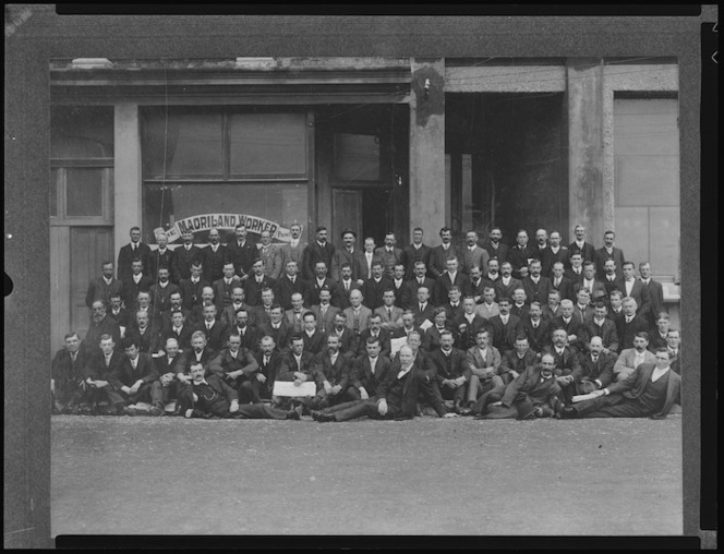 Unity Conference delegates outside The Maoriland Worker office, Wellington