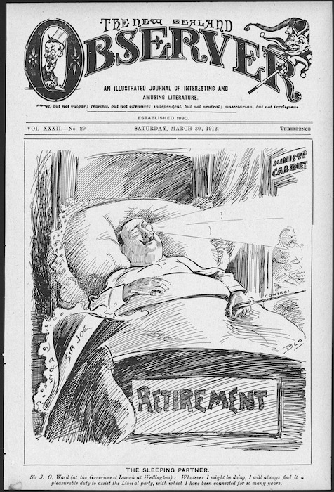 Blomfield, William, 1866-1938 :The sleeping partner. New Zealand Observer, 30 March 1912 (front page).