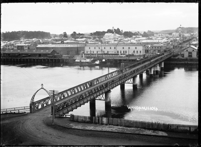 View of Wanganui with Town Bridge stretching across the Whanganui River in the foreground