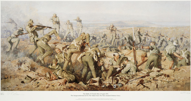 Brown, Ion G., b 1943? :The battle of Chunuk Bair, 8 August 1915. The sesquicentennial gift to the nation from the New Zealand Defence Force... / I. G. Brown, Major, Army artist. [Wellington, New Zealand Defence Force?, 1990]