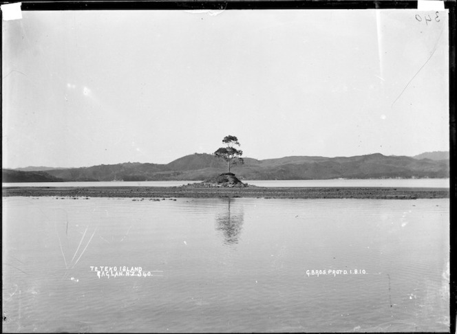 Te Teko Island, Raglan Harbour, 1910 - Photograph taken by Gilmour Brothers