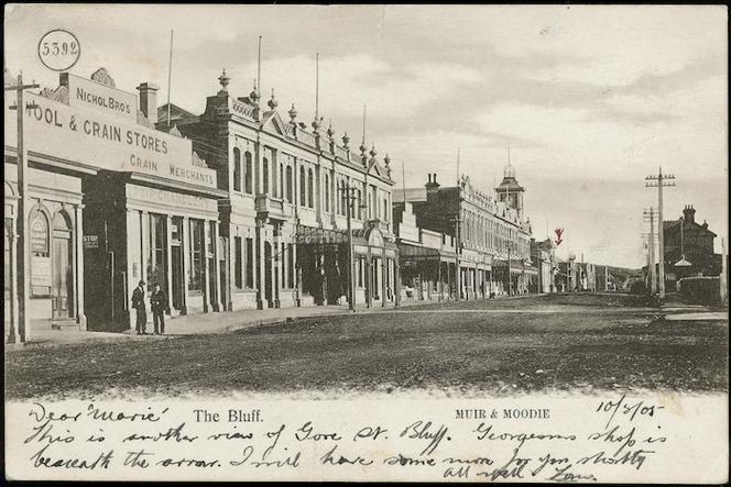 Muir and Moodie, fl 1898-1916 (Firm, Dunedin) :Photograph of Gore Street, Bluff
