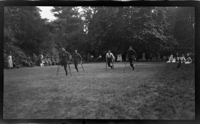 Amputee soldiers in one-legged race