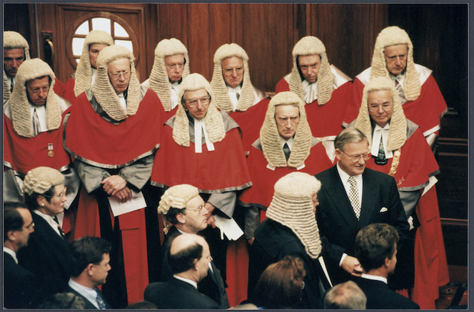 Prime Minister Jim Bolger surrounded by members of the judiciary and the legal fraternity at the opening of Parliament - Photograph taken by Phil Reid