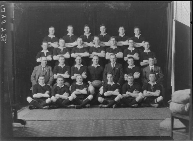 Unidentified rugby team ['SRFU 1925' inscribed on ball]