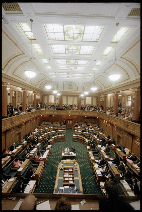 Interior view of the debating chamber, Parliament buildings. - Photograph taken by John Nicholson.