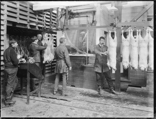Weighing lamb and sheep carcasses at the Christchurch Meat Company