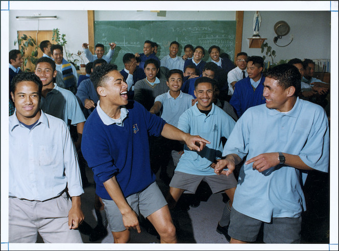 Daniel Laumatia and other members of the St Bernard's College Polynesian club, Lower Hutt - Photograph taken by Ray Pigney