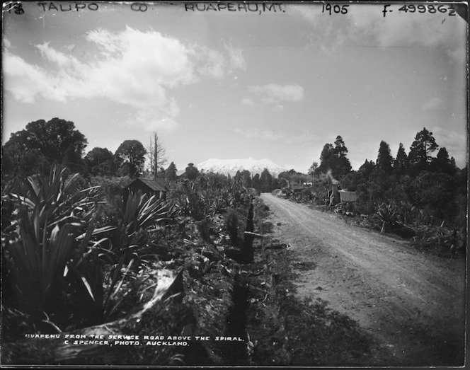 Spencer, Charles S, 1854-1933 :Ruapehu from the service road above the spiral