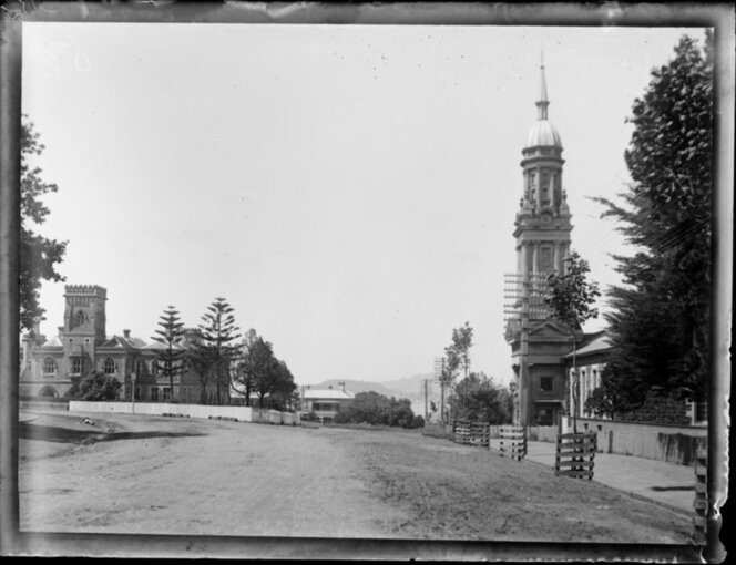 Symonds Street, featuring Auckland Supreme Court building and St Andrew's Church, Parnell, Auckland
