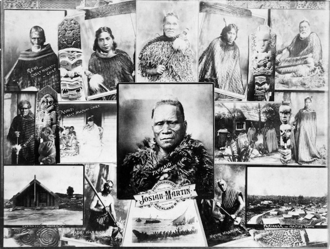 Hutchinson, E: Montage of photographs by Josiah Martin depicting scenes and portraits of Maori