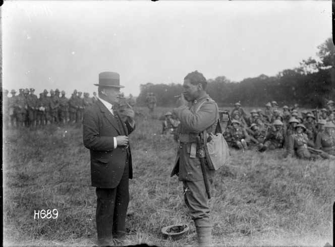 Joseph George Ward and a soldier smoking cigars