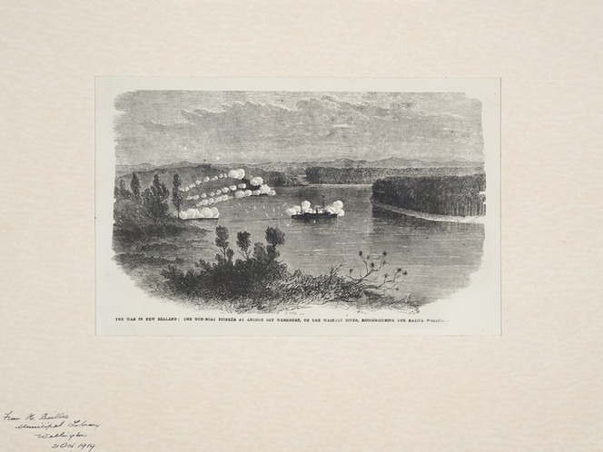 Illustrated London News :The war in New Zealand ;the gun-boat Pioneer at anchor off Meremere, on the Waikato river, reconnoitring the native position / E [A] W[illiams del. London, Illustrated London News, 1864]