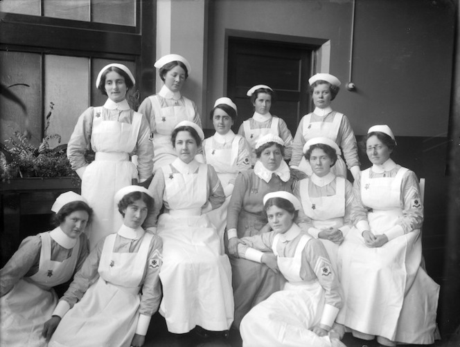 Group portrait of nurses at Christchurch Hospital