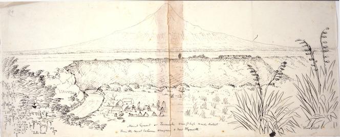 Collinson, Thomas Bernard 1822-1902 :Mount Egmont or Taranaki 8000 ft high 12 miles distant. From the coast between Wanganui & New Plymouth [1847]