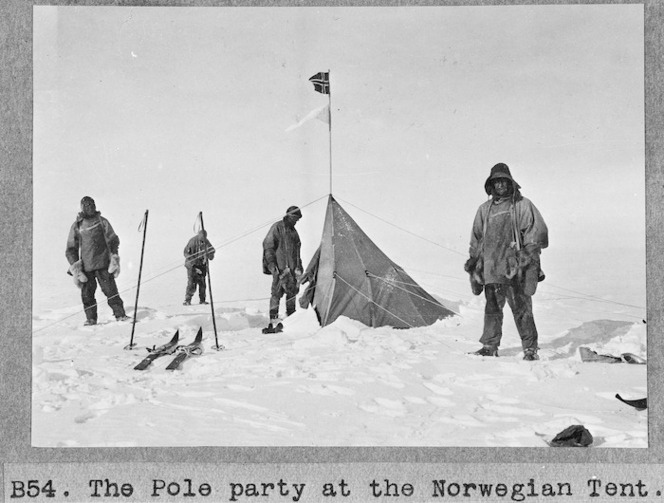 The pole party at the Norwegian tent, Antarctica - Photograph taken by Henry Robertson Bowers