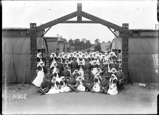 New Zealand nurses and medical officers at the New Zealand Stationary Hospital, Wisques, France. Royal New Zealand Returned and Services' Association :New Zealand official negatives, World War 1914-1918\. Ref: 1/2-013478-G
