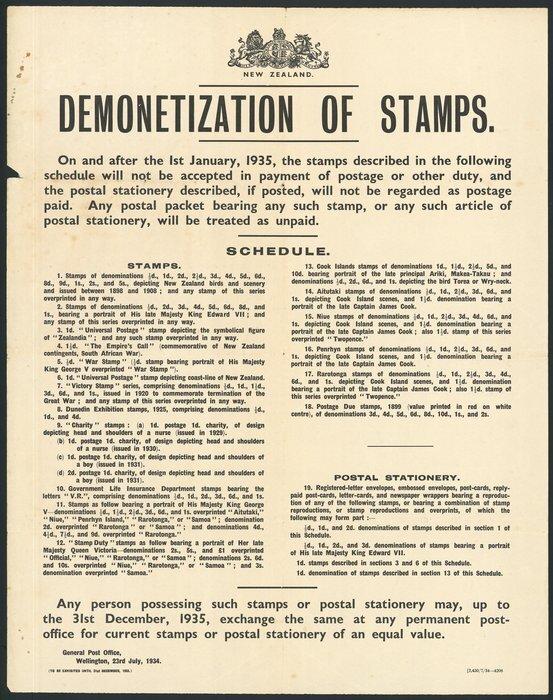 New Zealand Post Office: Demonetizati    | Items | National