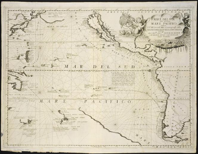 Mare del Sud, detto altrimenti Mare Pacifico [cartographic material] / auttore Il P. M. Coronelli M.C.  Cosmografo.
