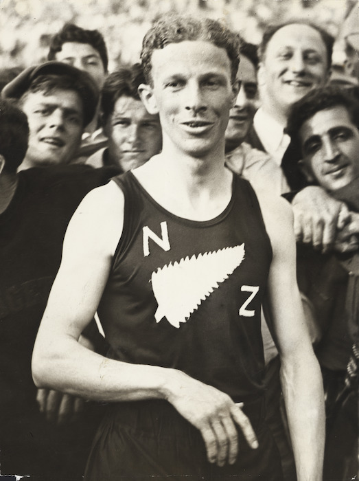 Jack Lovelock after his victory in the `mile of the century' - Photograph taken by the Associated Press