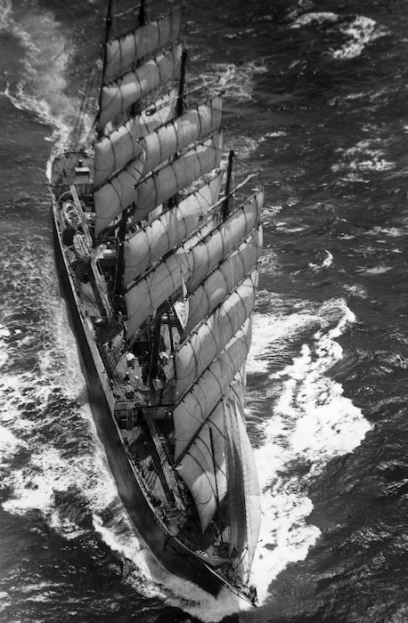 Aerial view of the ship Pamir
