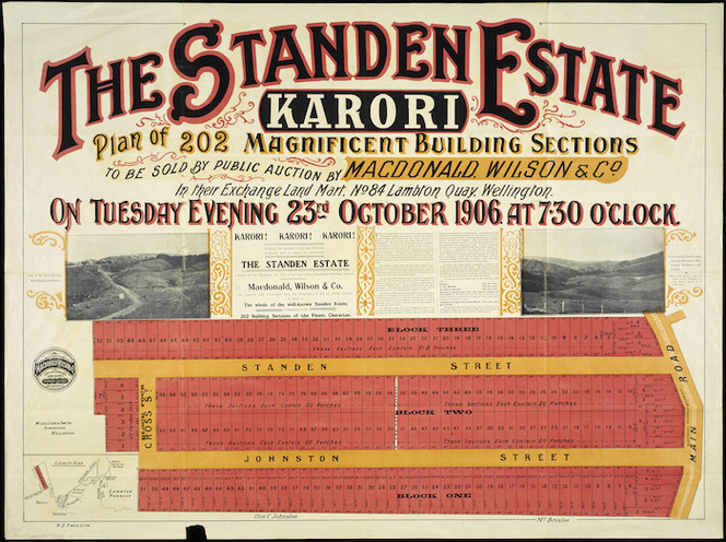 The Standen Estate, Karori [cartographic material] : plan of 202 magnificent building sections to be sold by public auction by MacDonald, Wilson & Co. ... on Tuesday, 23rd October, 1906 / Middleton & Smith, surveyors.
