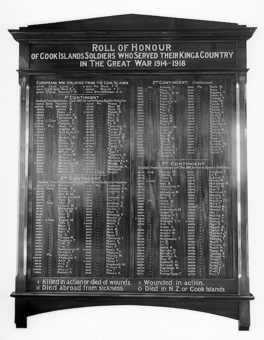 Roll of honour, listing World War 1 soldiers from the Cook Islands