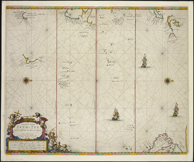 Pascaerte Vande Zuyd-Zee tussche California, en IIhas de Ladrones t'Amsterdam [cartographic material] / by Pieter Goos op't Waater inde Vergulde Zeespiegel.