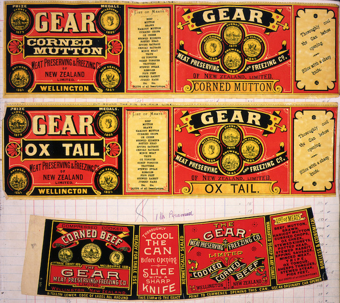 Gear Meat Company :[Three labels for Corned mutton; Ox tail; and Cooked corned beef]. Gear Meat Preserving & Freezing Company of New Zealand, Wellington New Zealand. [1890-1920].