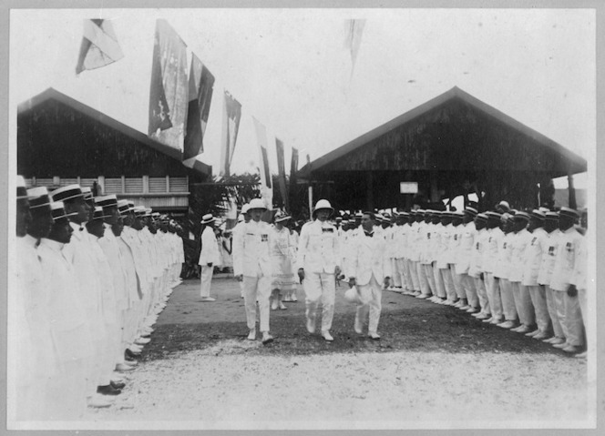 Governor General Sir Charles Fergusson and Judge Ayson inspecting the guard of honour of returned soldiers, Avarua, Cook Islands