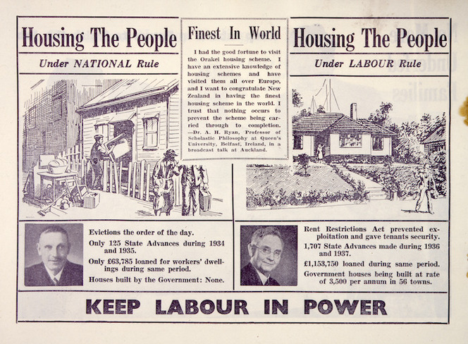 New Zealand Labour Party: Housing the people, under National rule; ... under Labour rule. Keep Labour in power. [1938]