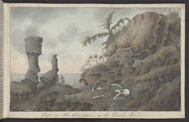 Artist unknown: Gesigt van oude gedenktekenen op het Paasch-Eiland [1774. Copied ca 1785]