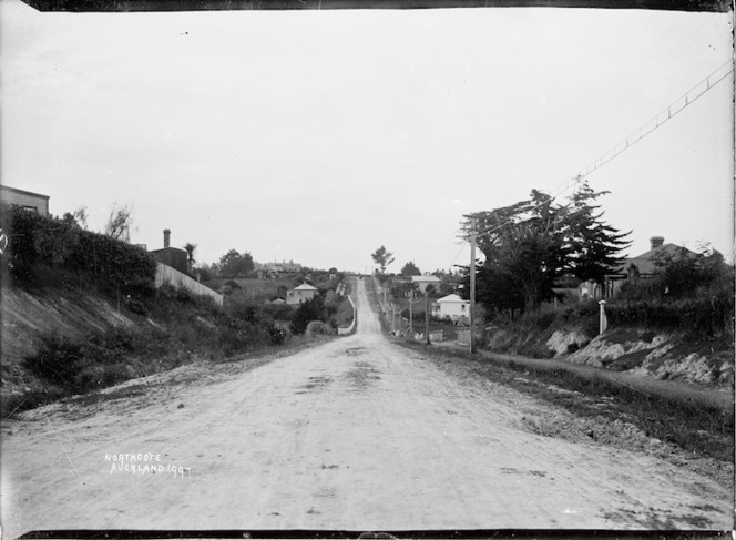 View looking down Stafford Road, Northcote, Auckland