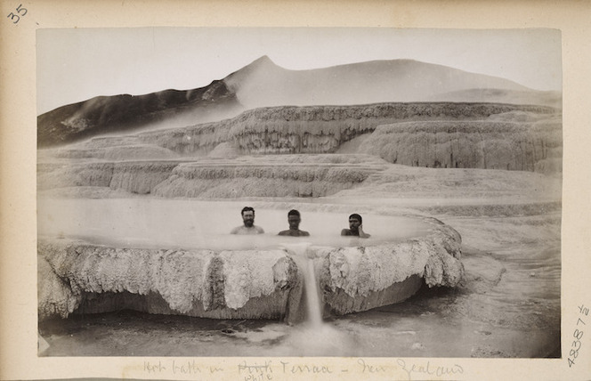 Men bathing in a thermal pool at the White Terraces, Rotomahana