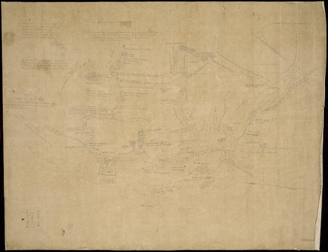 [Garwood, G., fl 1845] :A hand sketch of the upper part of River Wy-Roa from the mission station to Tokotoko mountain, the remainder is taken from Mr. Forsyth's sketch with the exception of the Otemata River [ms map]. G. Garwood, Barque Gipsy, [ca. 1845].