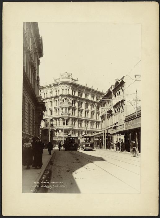 Muir and Moodie, fl 1898-1916 (Firm, Dunedin) :Photograph of Byko Corner (latterly Stewart Dawson's Corner), Wellington