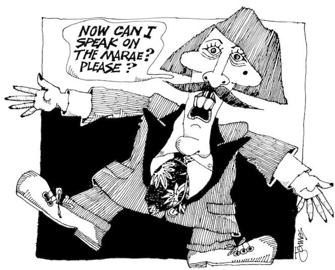 Waerea, James, 1940- :Can I speak on the marae? Please? New Zealand Truth, 2000.