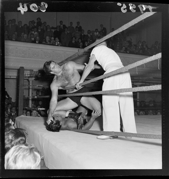 Wrestlers competing in a ring, Wellington Town Hall