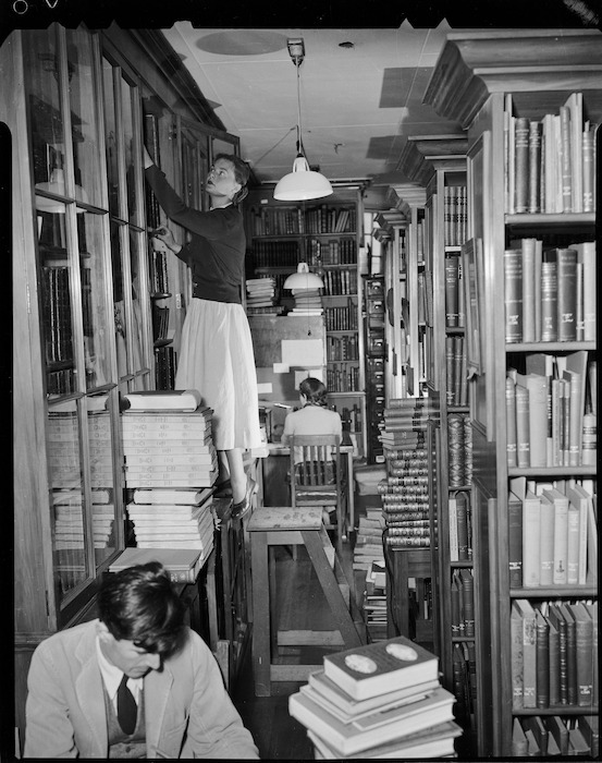Pacific stack room, and staff, Alexander Turnbull Library, Bowen Street, Wellington