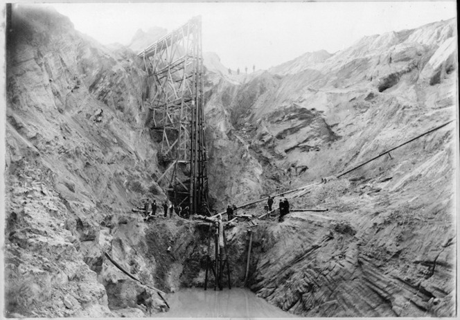 Sluice used for goldmining, St Bathans Range, Otago