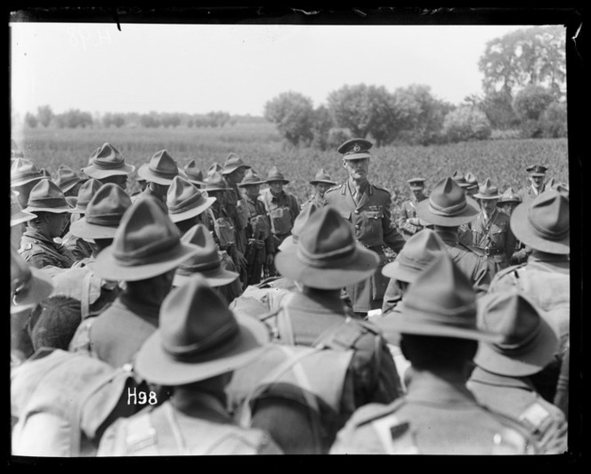 New Zealand troops inspected by General Godley before next offensive
