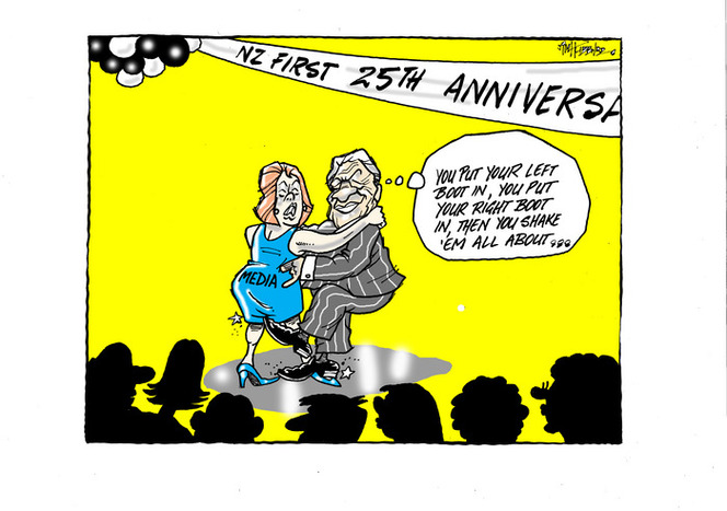 "[Winston Peters dances with the ""Media"" at the NZ First 25th anniversary]"