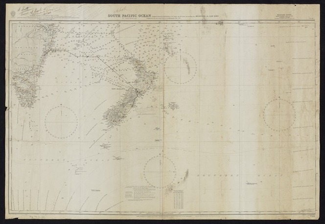 A Scott :Course of Psyche, Wellington to Sydney, April 1926 [map with ms annotations]. 1926