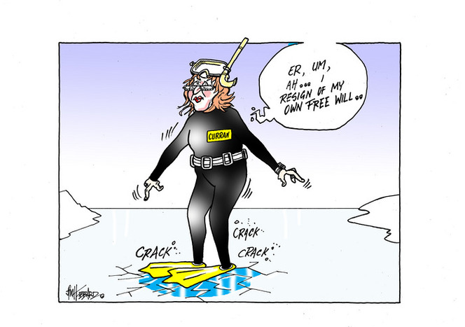 """[Claire Curran wearing a scuba diver suit as she stands on cracking thin ice saying """"… I resign of my own free will""""]"""