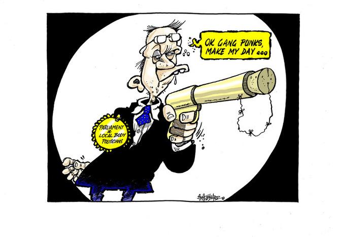 "[Man wearing blue and a badge ""Parliament & Local Body Politicians"" aims a pop gun at gang punks]"