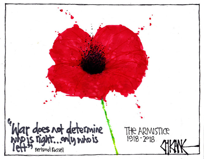 """""""War does not determine who is right only who is left"""" Bertrand Russell. The Armistice 1918-2018"""