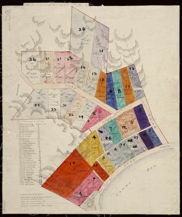 Creator unknown: Sale plan of sections at Point Howard, Wellington